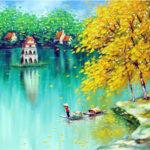 Tả bức tranh vẽ Hồ Gươm