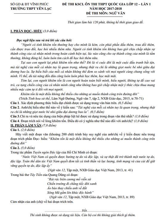 Đề thi thử môn Văn 2018 THPT Yên Lạc – Vĩnh Phúc lần 1