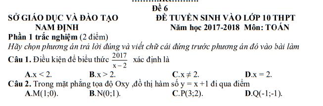 Đề thi vào lớp 10 môn Toán Sở Giáo dục và Đào tạo Nam Định năm 2017 - 2018