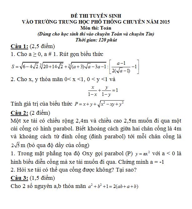 Đề thi vào lớp 10 môn Toán chuyên Đại học Sư Phạm Hà Nội năm 2015