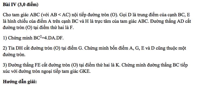 Đề thi và gợi ý môn Toán vào lớp 10 chuyên Hà Nội
