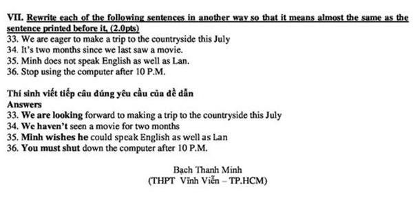 Gợi ý giải đề thi tiếng Anh vào lớp 10 ở TP HCM năm học 2018-2019