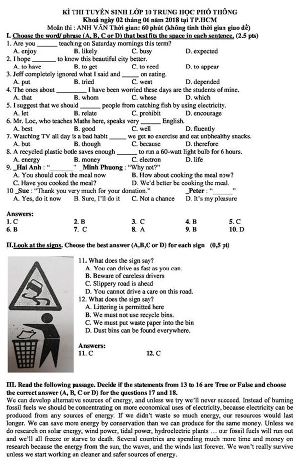Gợi ý giải đề tiếng Anh vào lớp 10 ở TP HCM