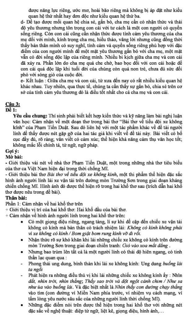Gợi ý giải đề Văn vào lớp 10 ở TP HCM